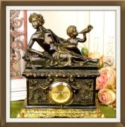 Antique Effect Beautiful Clock Venus and Cupid Empire Style